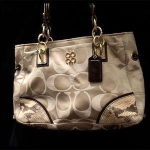 Authentic Coach collette python shoulder bag